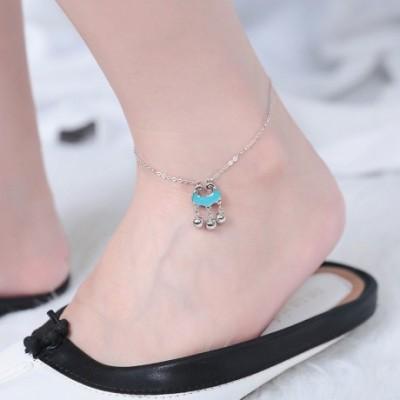 Blue Cloud Bells Silver Anklet