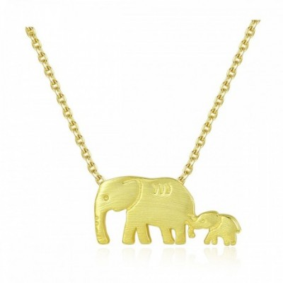 Animal Mother Child Elephant Silver Necklace