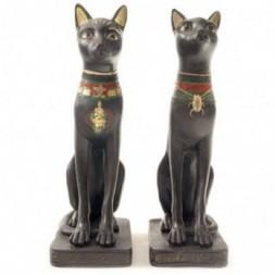 Black Bast Cat Egyptian Figurine