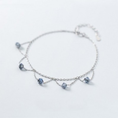 Blue Crystal Silver Bracelet