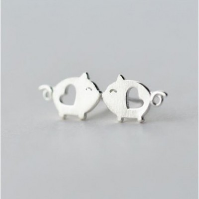 Animal Hollow Heart Pig Silver Studs Earrings