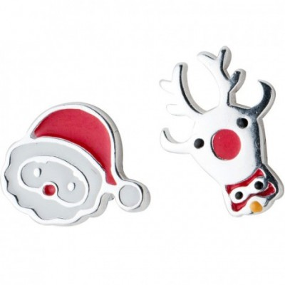 Santa and Deer Christmas Silver Stud Earrings