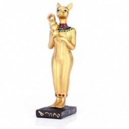 Gold Standing Bast Egyptian Figurine