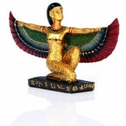 Gold Egyptian Winged Isis Figurine Kneeling