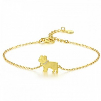 Dog  Gemstone Silver Bracelet