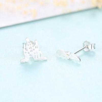 Bat and Castle Silver Studs Earrings
