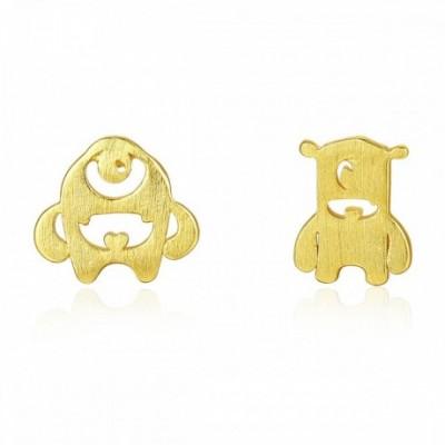 Bear Gold-plated Silver Stud Earrings