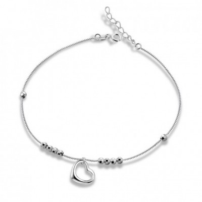 Heart Silver Bead Silver Anklet