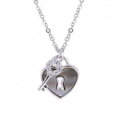 Anniversary Heart Lock  Gemstone Key Silver Necklace