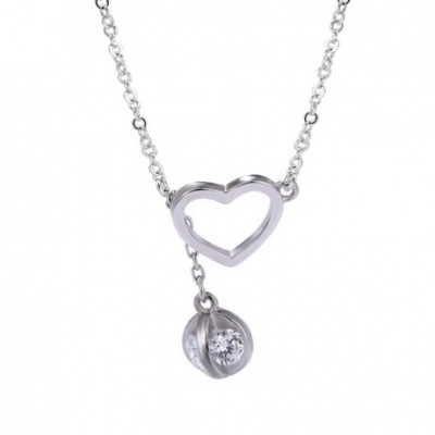 Anniversary Hollow Heart  Gemstone Silver Necklace