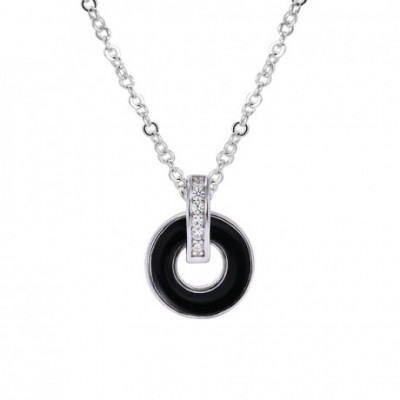 Black Ring  Gemstone Silver Necklace