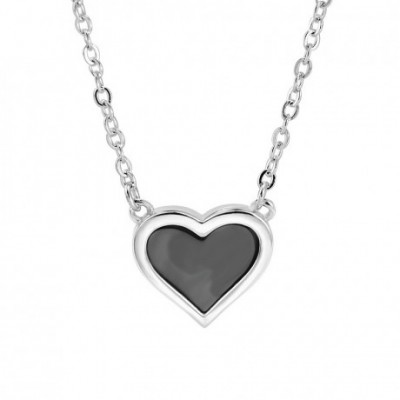 Anniversary Black Shell Heart Silver Necklace
