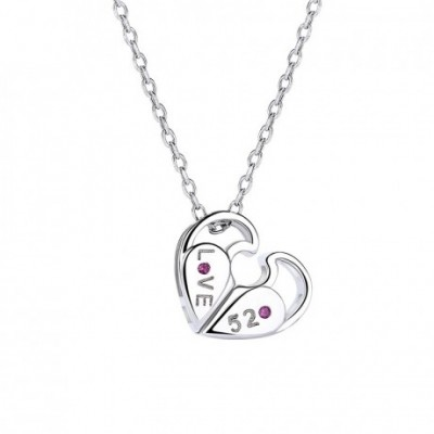 Anniversary Rotatable love 520 Letter Heart Silver Necklace