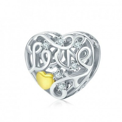 Anniversary  Gemstone Hollow Twisted Heart Silver Pendant