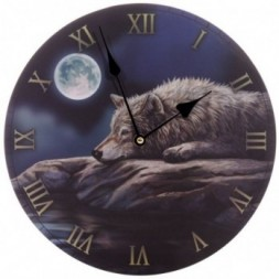 Quiet Night of the Wolf  Wall Clock