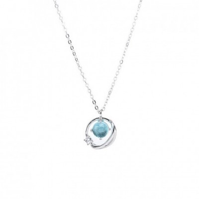 Blue Planet  Gemstone Silver Necklace