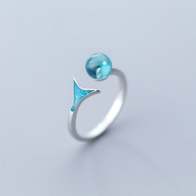 Blue  Crystal Fish Tail Silver Adjustable Ring