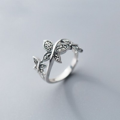 Black Butterfly Silver Adjustable Ring
