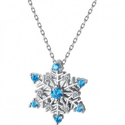 Blue  Gemstone Snowflake Silver Necklace