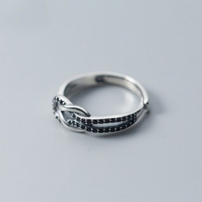 Black  Gemstone Knot Silver Adjustable Ring