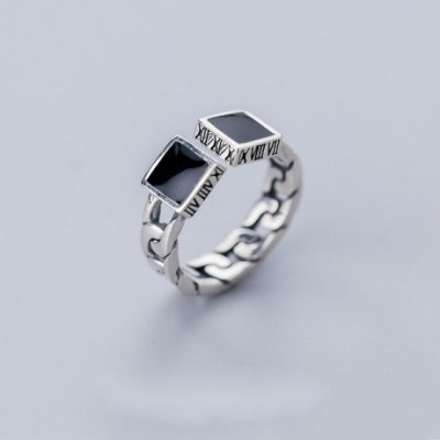 Black Square Chain Silver Adjustable Ring