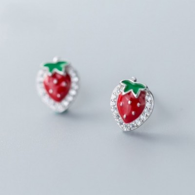 Anniversary Red  Gemstone Strawberry Silver Studs Earrings