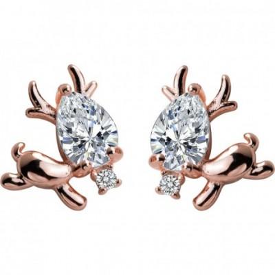 Deer Gold-Plated Silver Stud Earrings