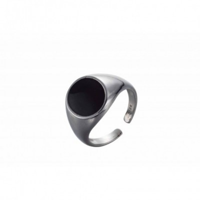 Black Oval Silver Adjustable Ring