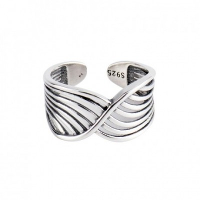 Bird Nest Lines Silver Adjustable Ring