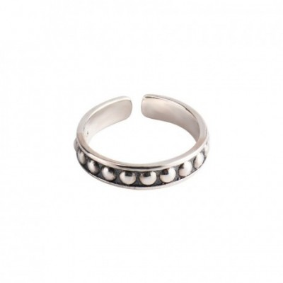Beads Collar Silver Adjustable Ring
