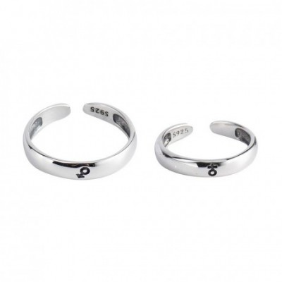 A Pair Silver Adjustable Promise Ring