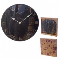 Black Cat and Broomstick Design  Wall Clock