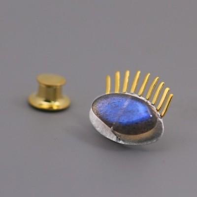 Anemousite Eyelash Silver Gold Brooch