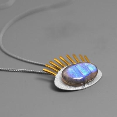 Anemousite Eyelash Silver Pendant