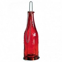 Recycled Bottle Lantern - Ruby