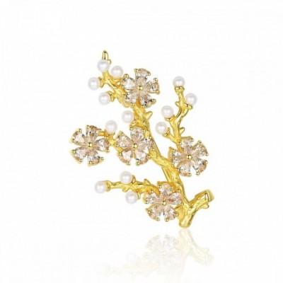 Gemstone Shell Pearl Flower Tree Silver Broochs