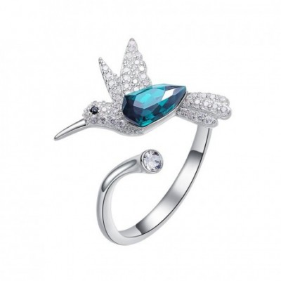 Bird Crystal & Silver Adjustable Ring