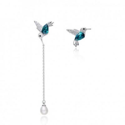 Bird Gemstone Silver Dangling Earrings