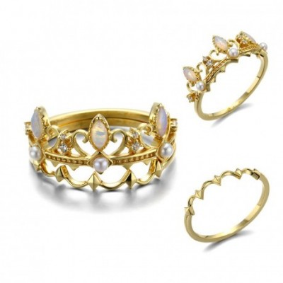 Opal Crown Detachable Silver Ring Set