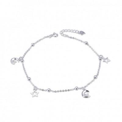 Promise  Gemstone Crescent Moon Stars Silver Anklet