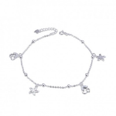 Promise  Gemstone Flowers Hearts Silver Anklet
