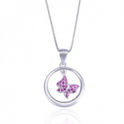 Butterfly Pink  Gemstone Circle Silver Pendant