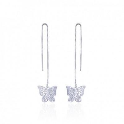 Butterfly Silver Dangling Earrings