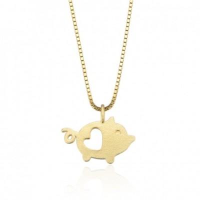 Animal Hollow Heart Pig Silver Pendant