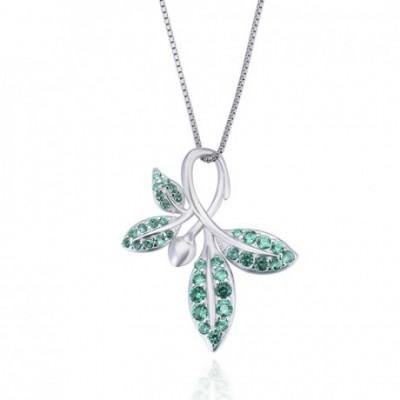Anniversary Green  Gemstone Leaves Silver Pendant