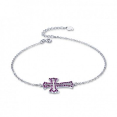 Anniversary  Gemstone Hollow Cross Silver Bracelet