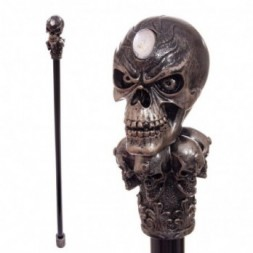 Walking Stick with  Bronze Multi Skull Top