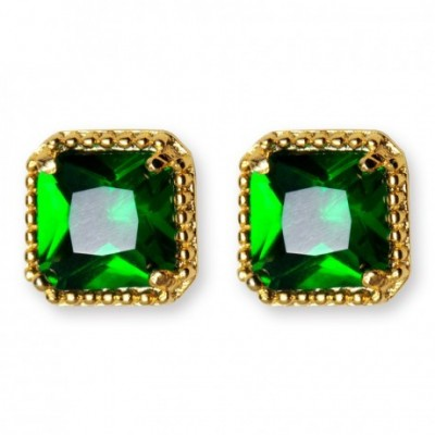 Anniversary Green  Gemstone Square Silver Studs Earrings