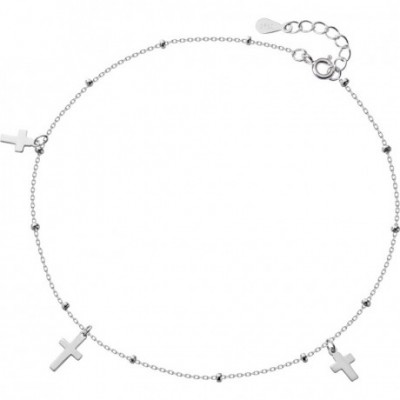 Cross Beads Silver Anklet