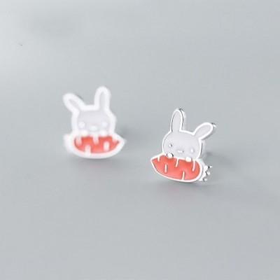 Animal Rabbit Eating Carrot Silver Studs Earrings